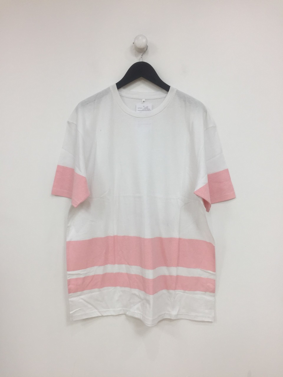 Pink Colour Over Sized Block Print T-Shirt