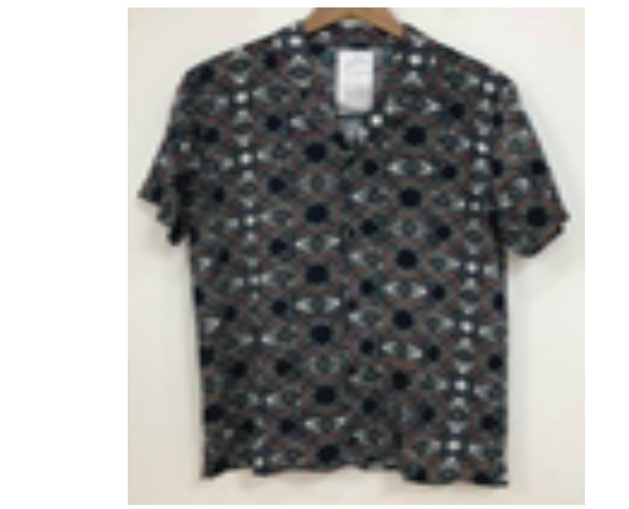 Navy C-ord Geo Print Short Sleeve Shirt