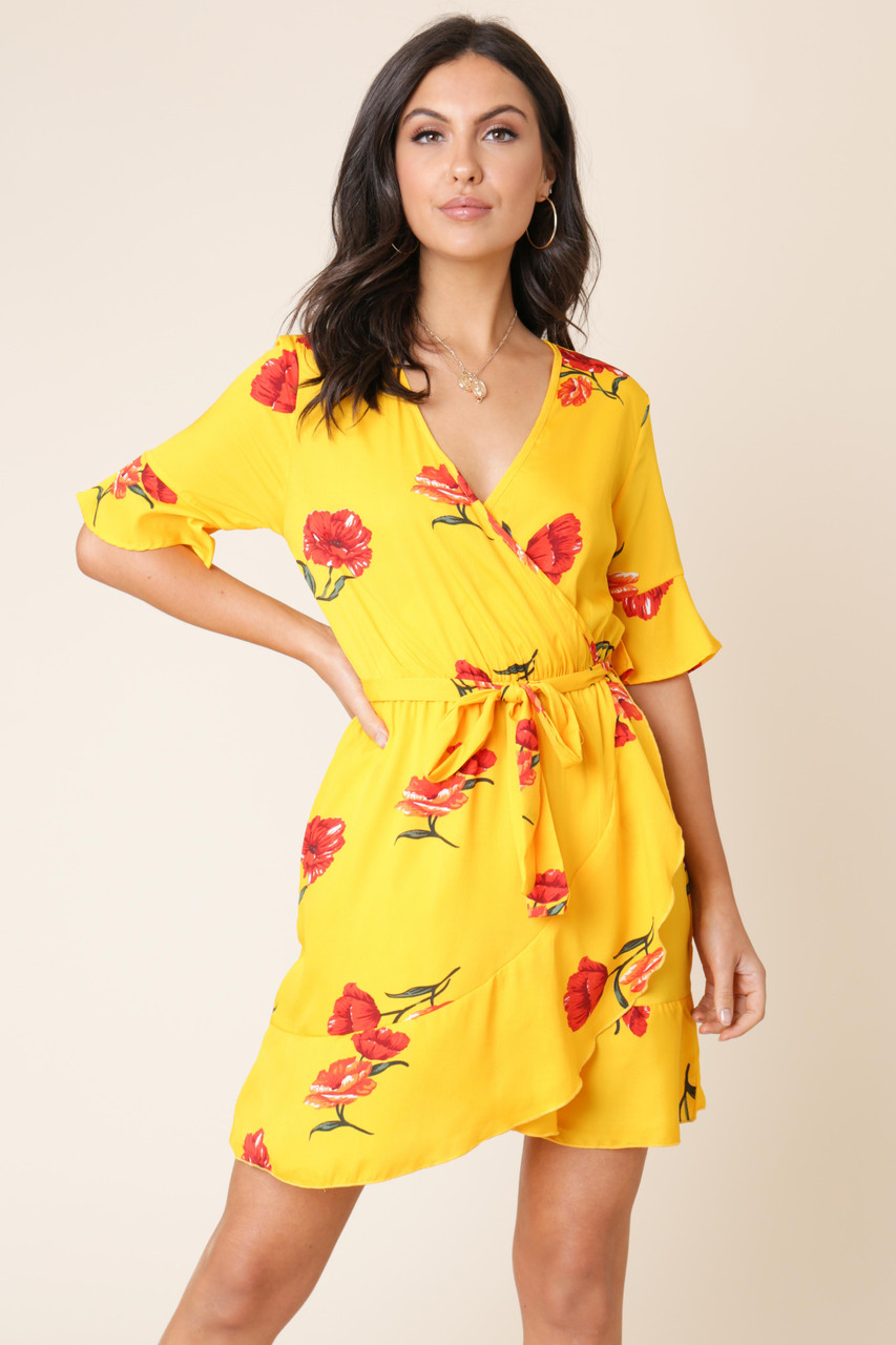 Yellow Floral Wrap Frill Skirt Dress With Fluted Sleeve