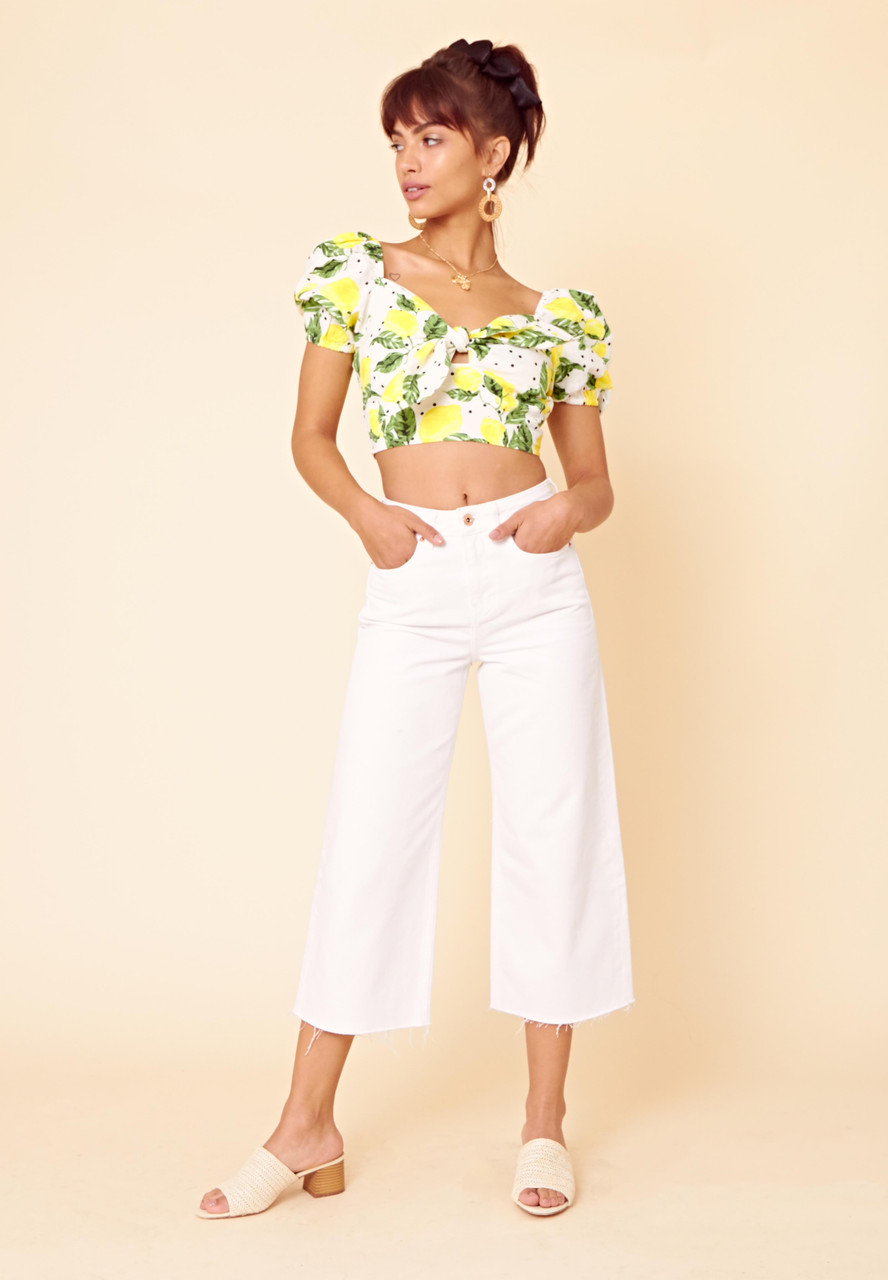 Lolita Lemon Tie Front Crop Top