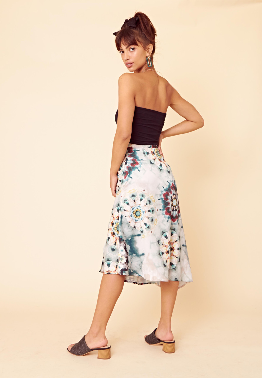 Tie Dye Satin Asymmetric Midi Skirt