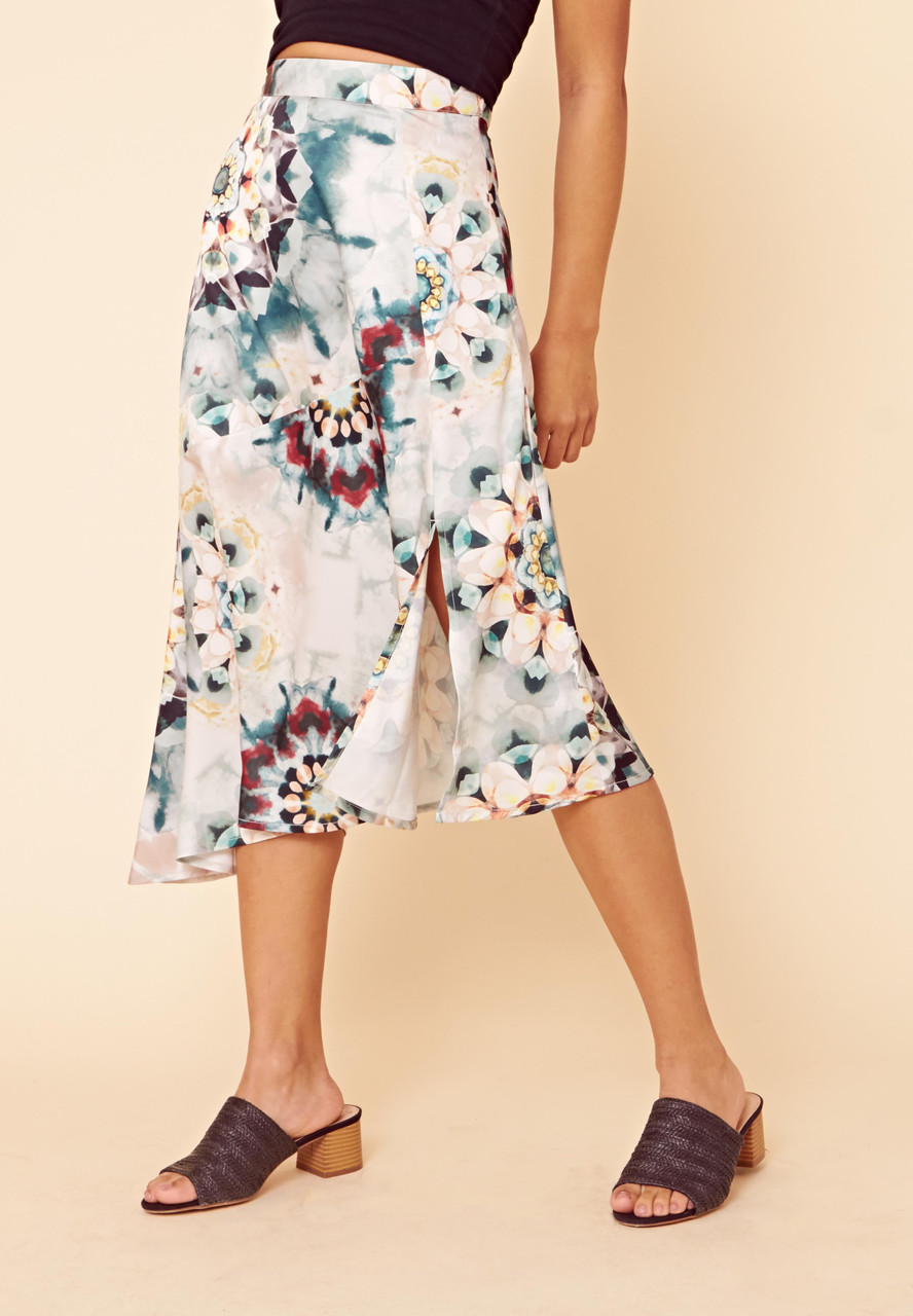 Tie Dye Satin Asymmetric Midi Skirt