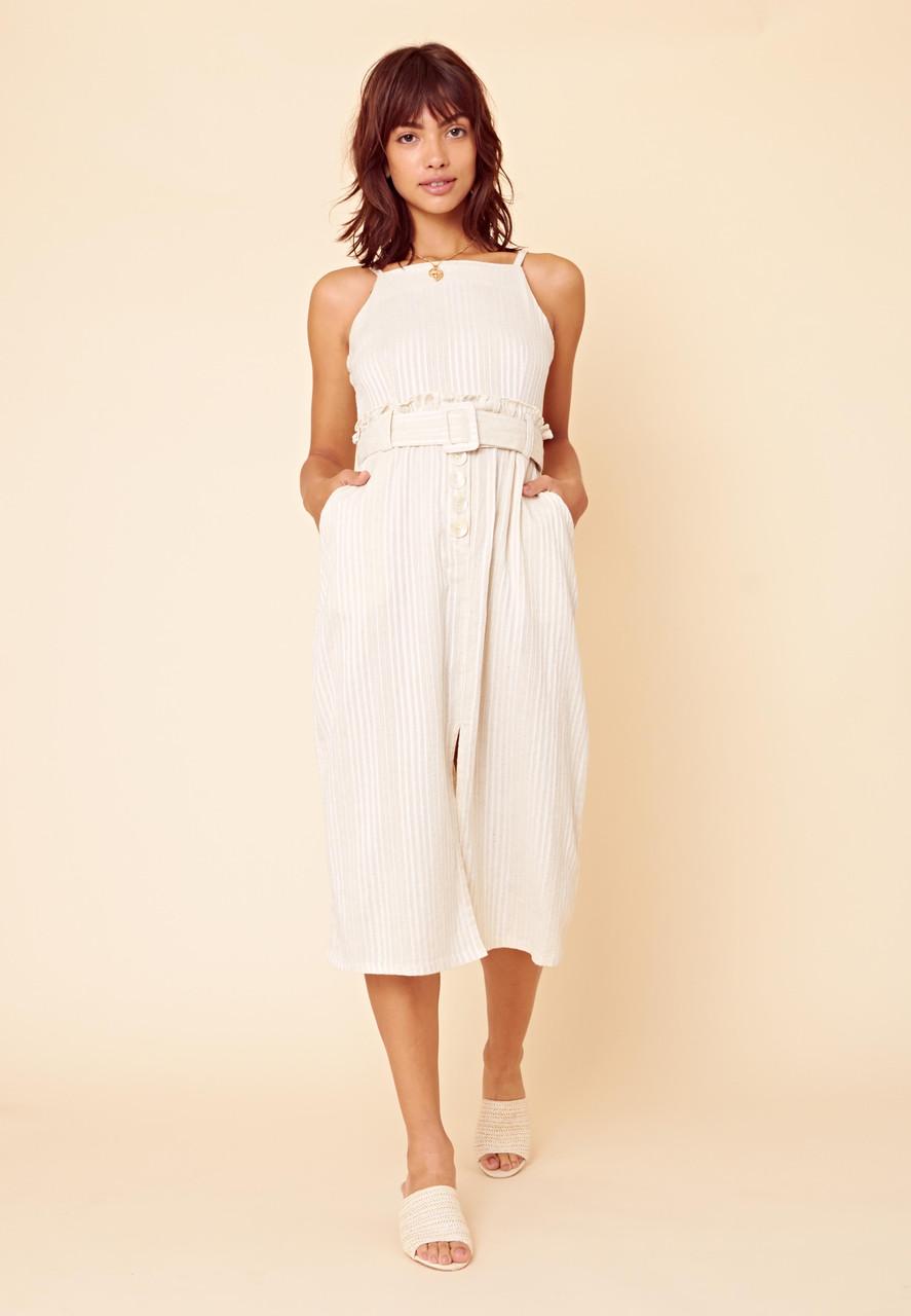 Stripe Strappy Paperbag Midi Dress