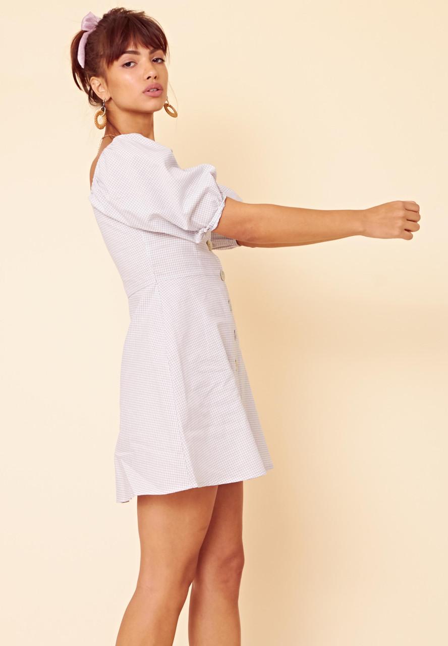 Gingham Puff Sleeve Button Front Tea Dress