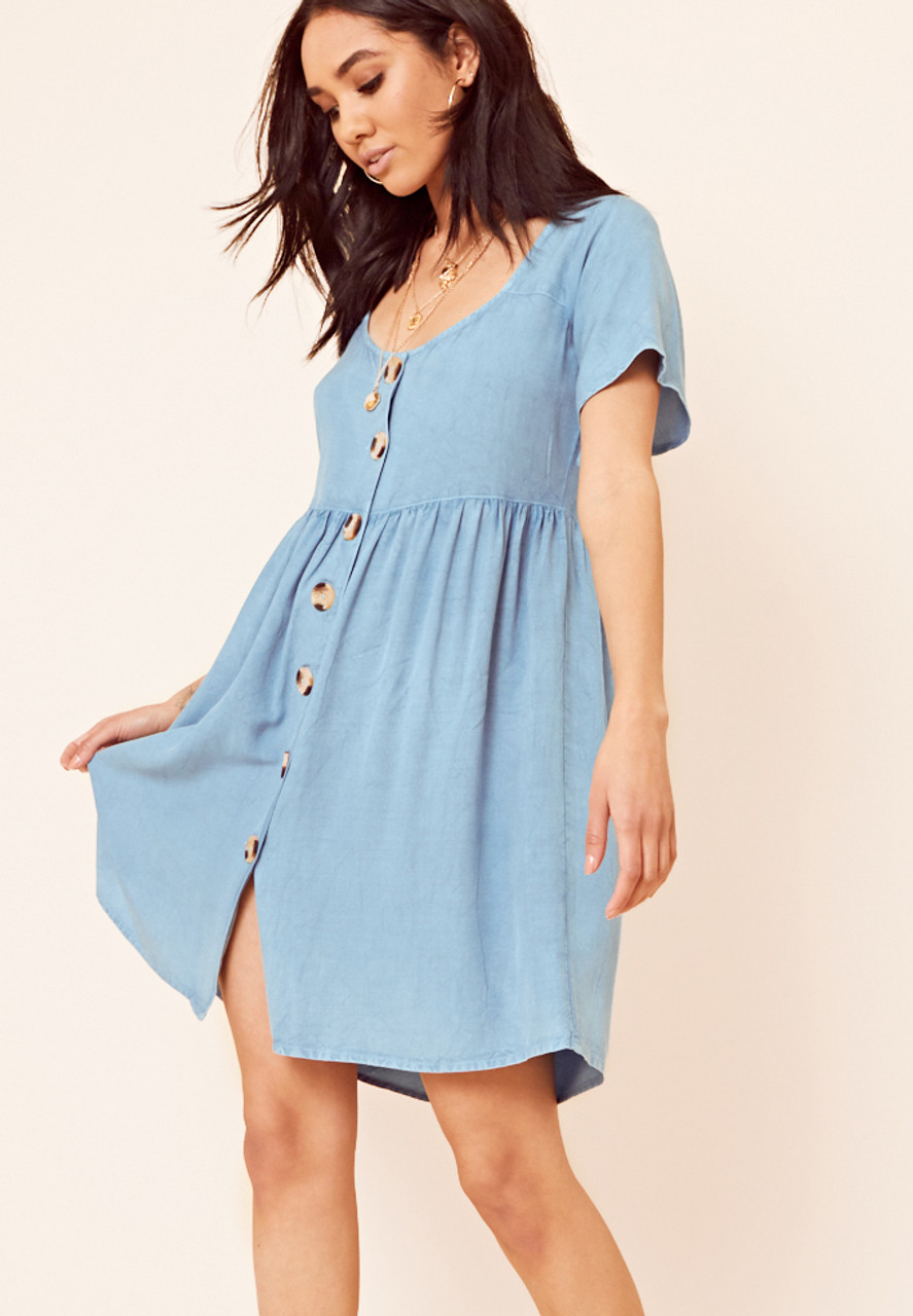 Button Through Denim Look Smock Dress