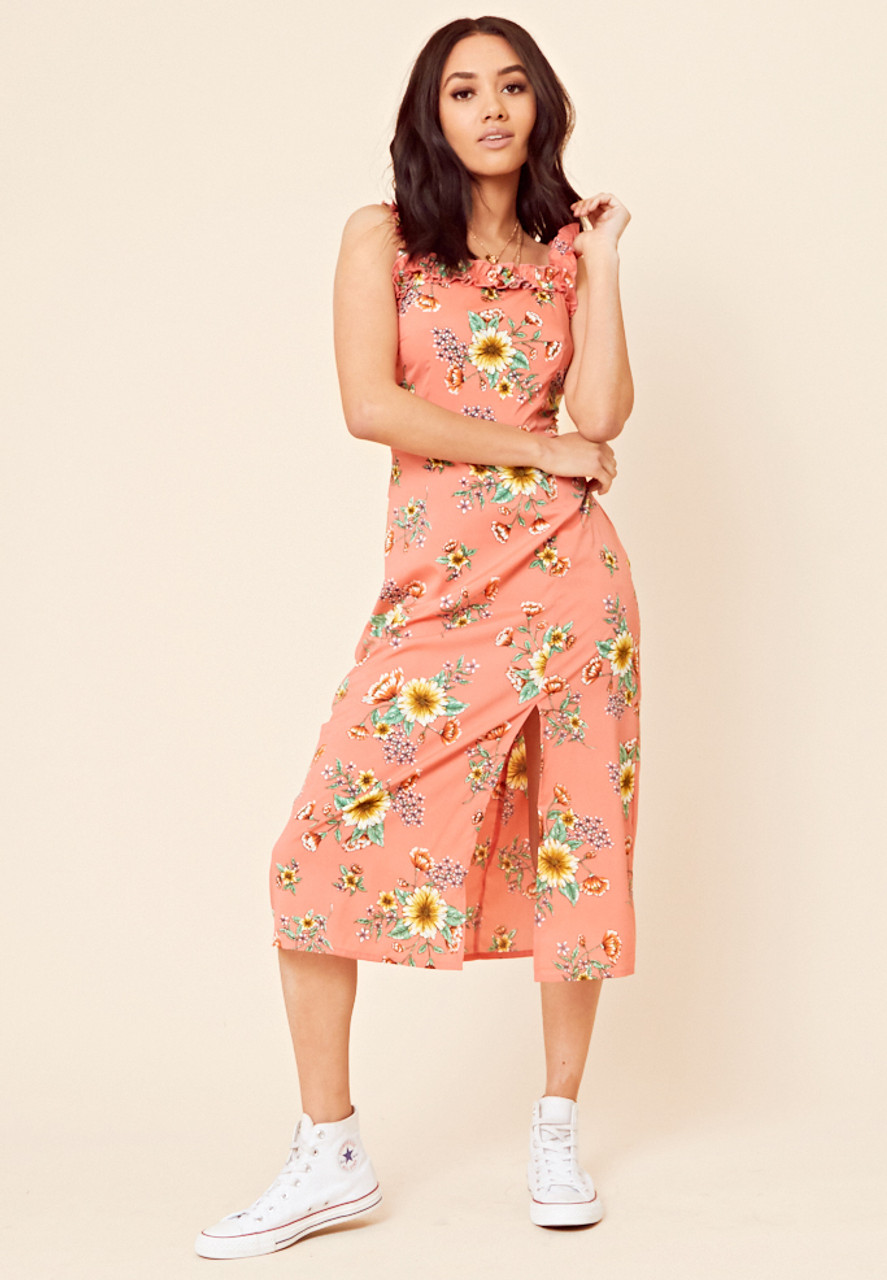 Coral Floral Print Midi Dress With Frill Detail And Split to Skirt