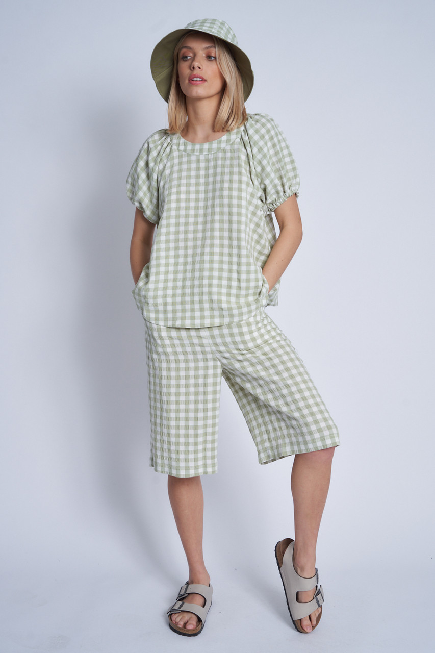 Textured Gingham Oversized Slouchy Top With Puff Sleeve