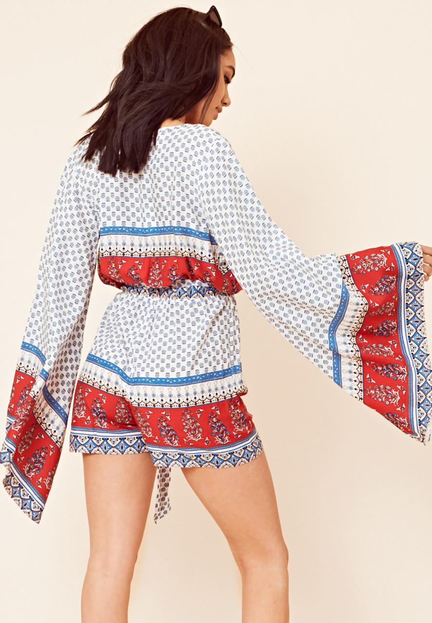 Multi Border Print Kimono Sleeve Playsuit