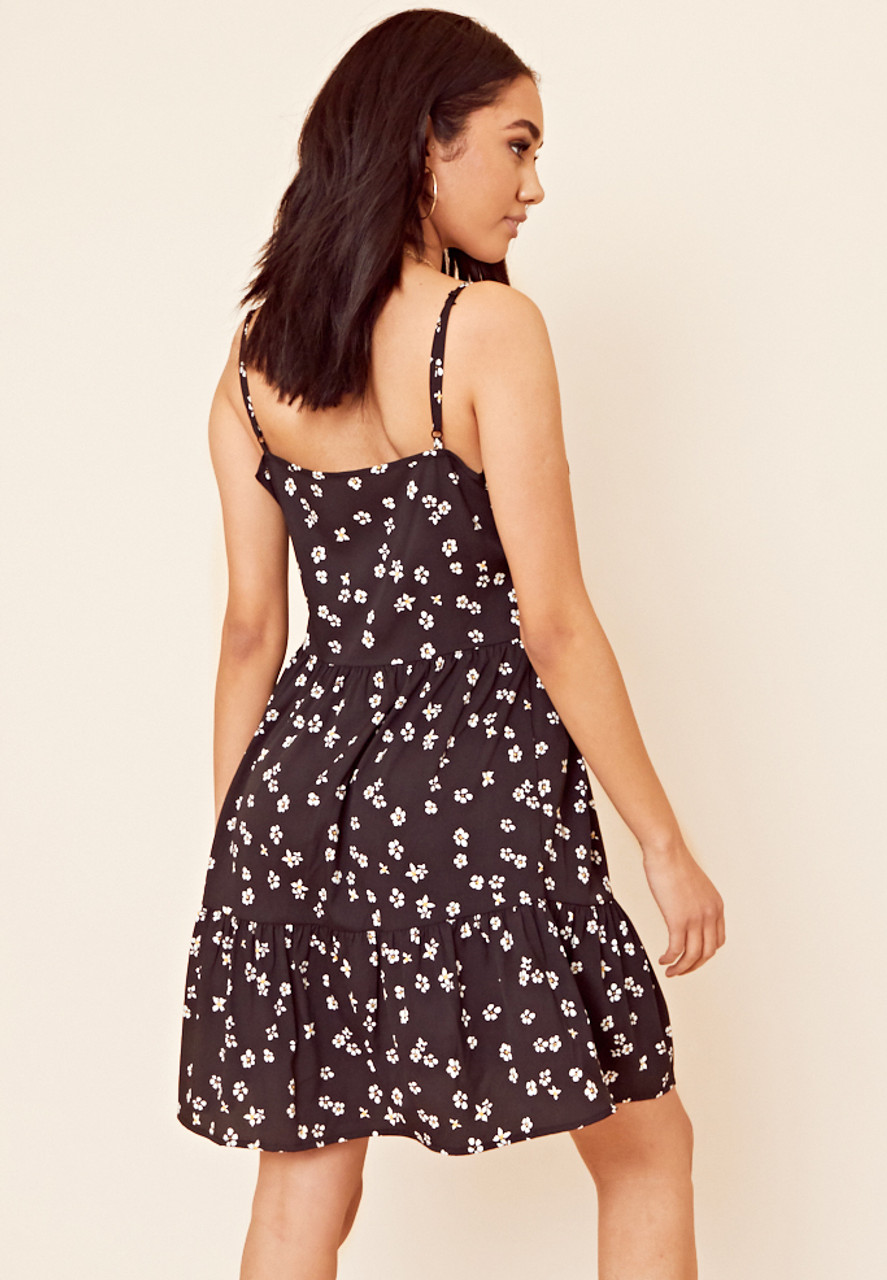Strappy Cami Dress With Button Front And Tiered Hem In Black Ditsy Print