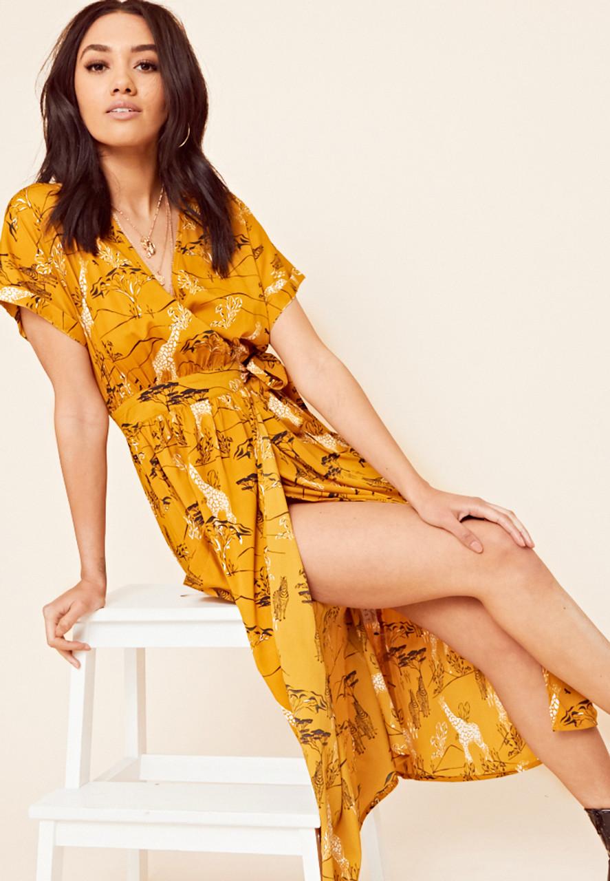Safari Print Grown on Sleeve Midi Wrap Dress with Pockets