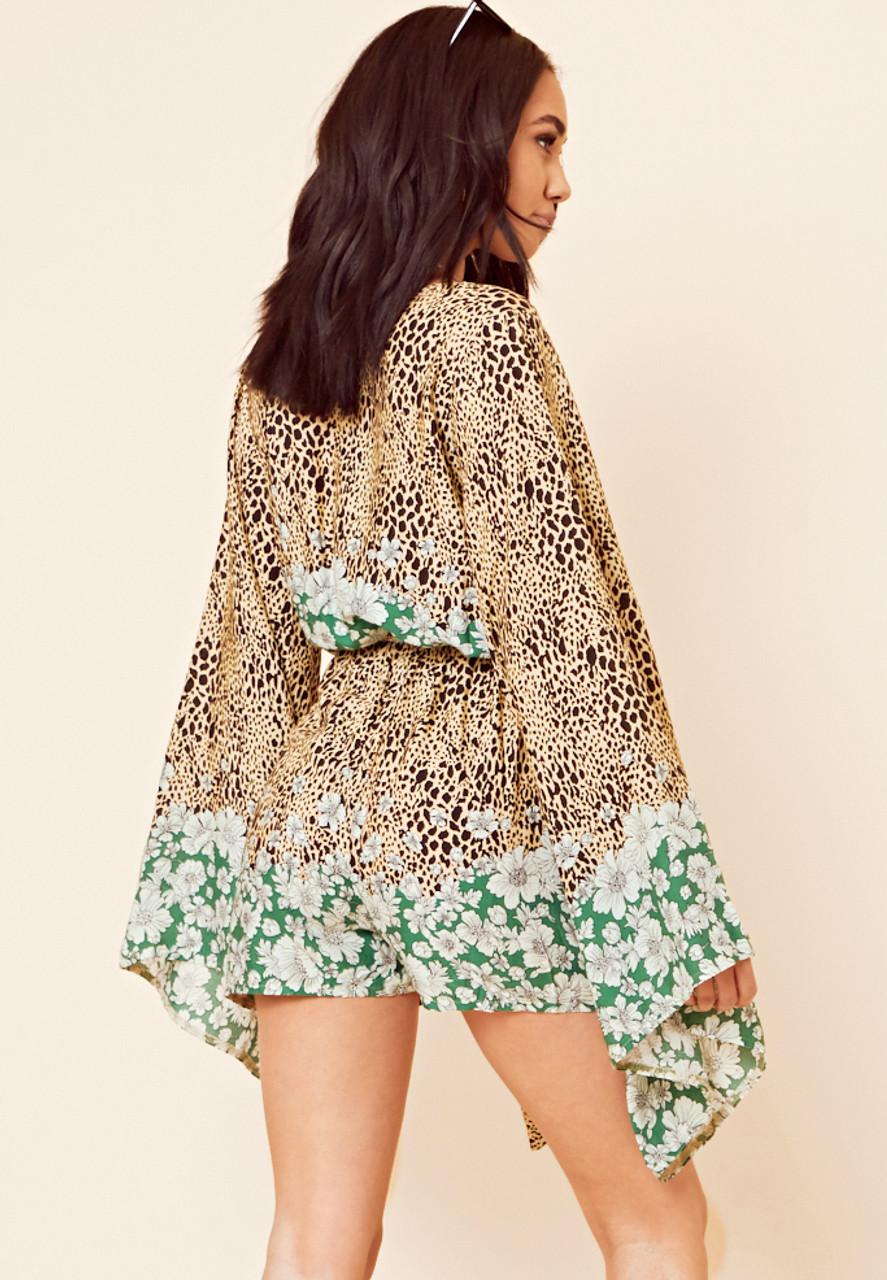 Green Border Print Kimono Sleeve Playsuit