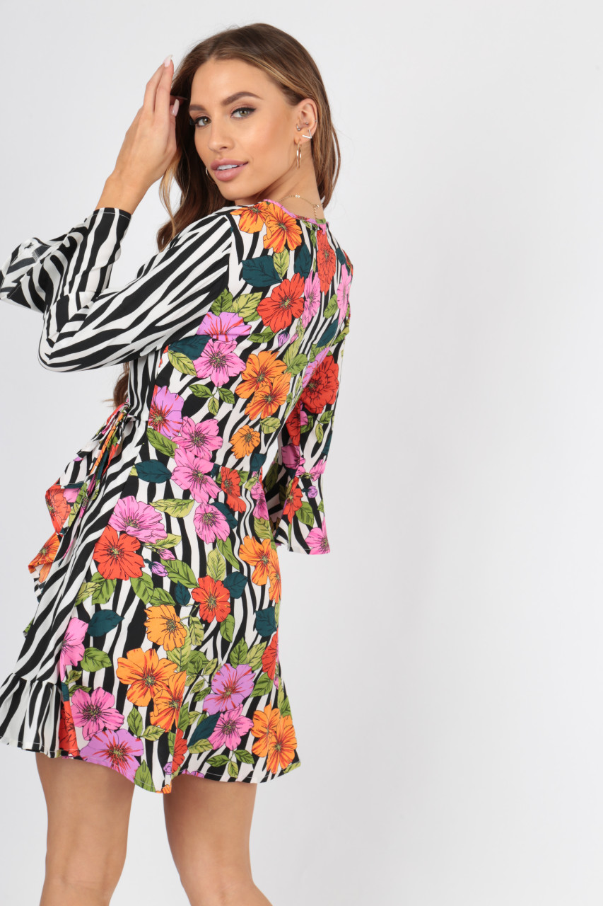 Multi Mix And Match Zebra Animal Floral Wrap Dress With Frill And Fluted Sleeve
