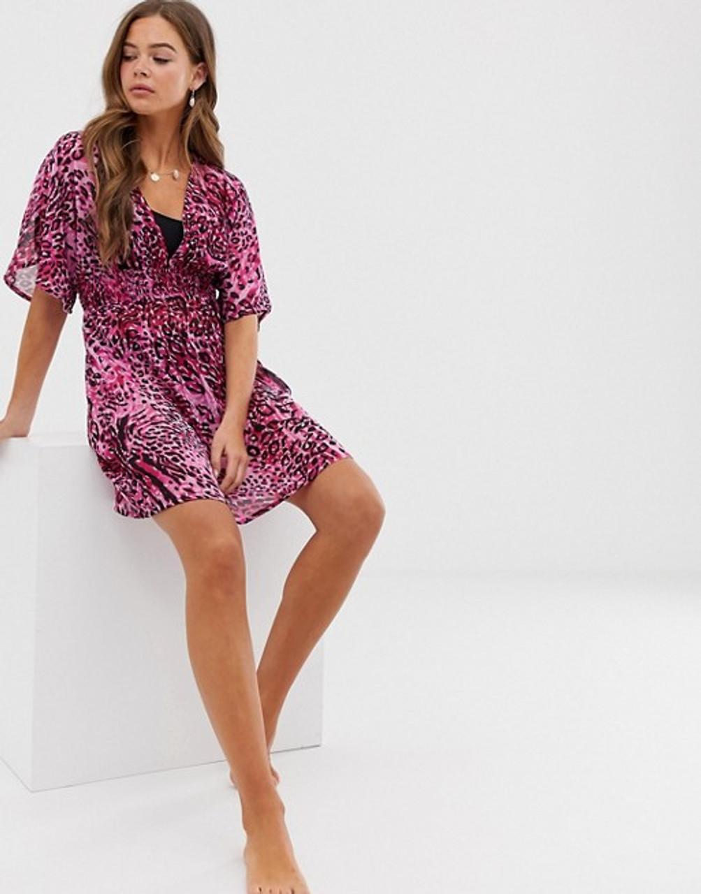 Pink Leopard Print Beach Dress