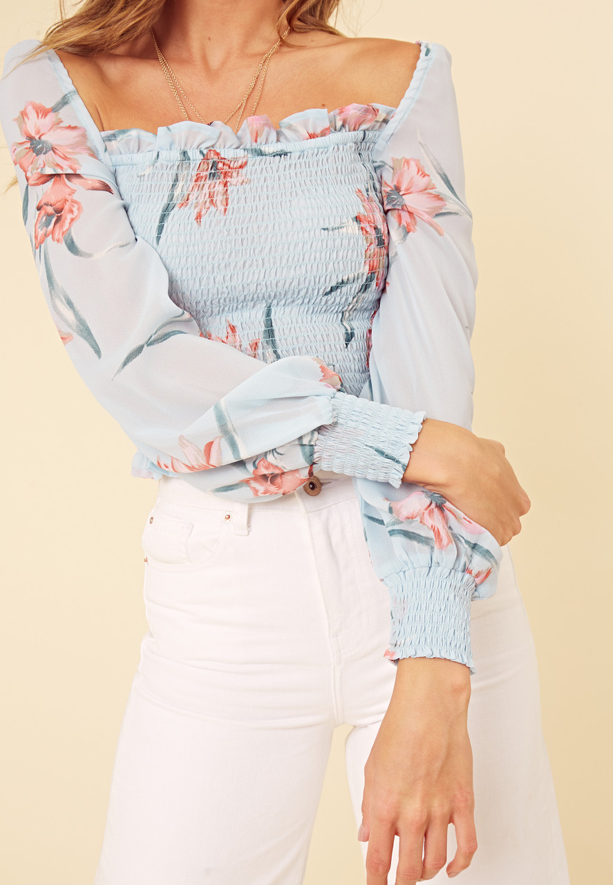 Blue Floral Sheer Fabric Shirred Milkmaid Top