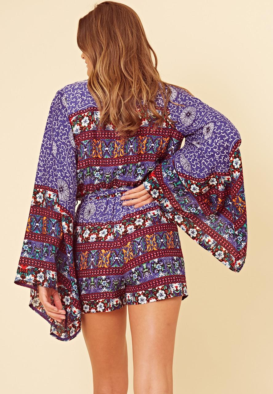 Blue Border Scarf Print Kimono Sleeve Playsuit