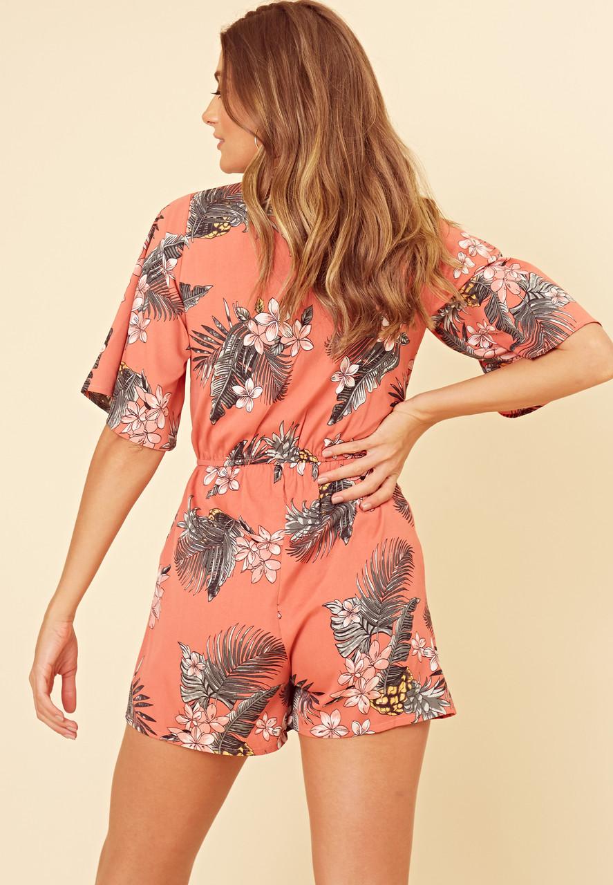 Coral Tropical Print Wrap Plasysuit