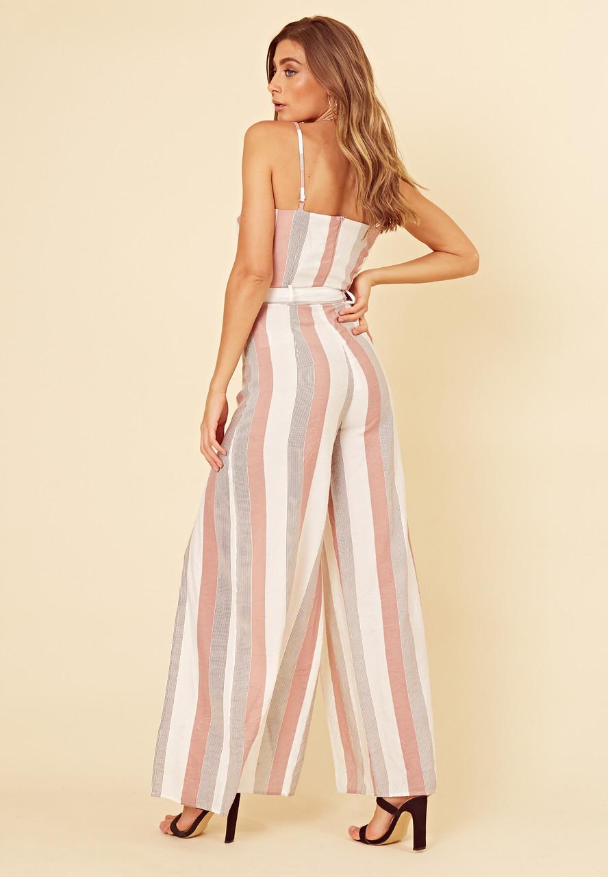 Multi Stripe Strappy Wrap Wide Leg Jumpsuit