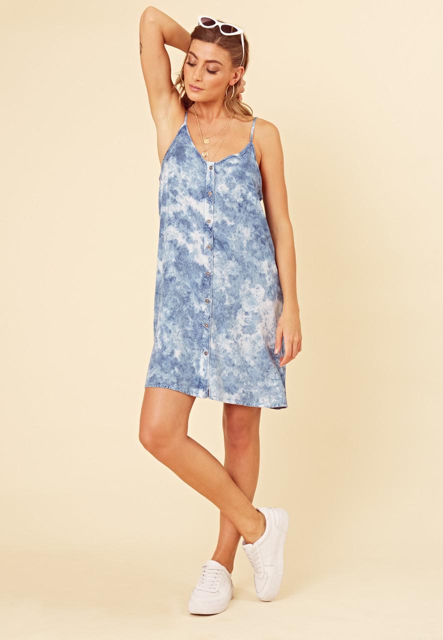 Blue Tie Dye Button Through Strappy Cami Dress