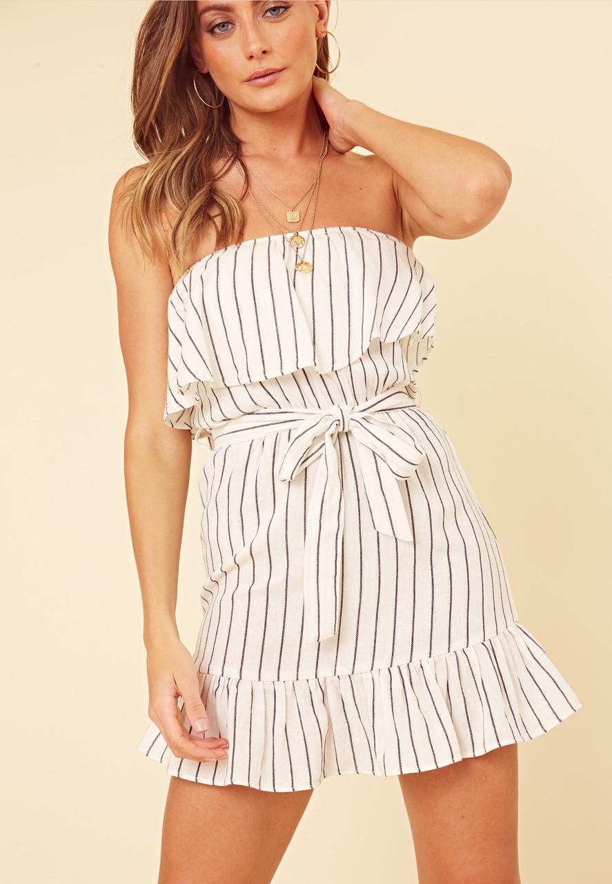 Black and White Linen Stripe Frill Bandeau Mini Dress