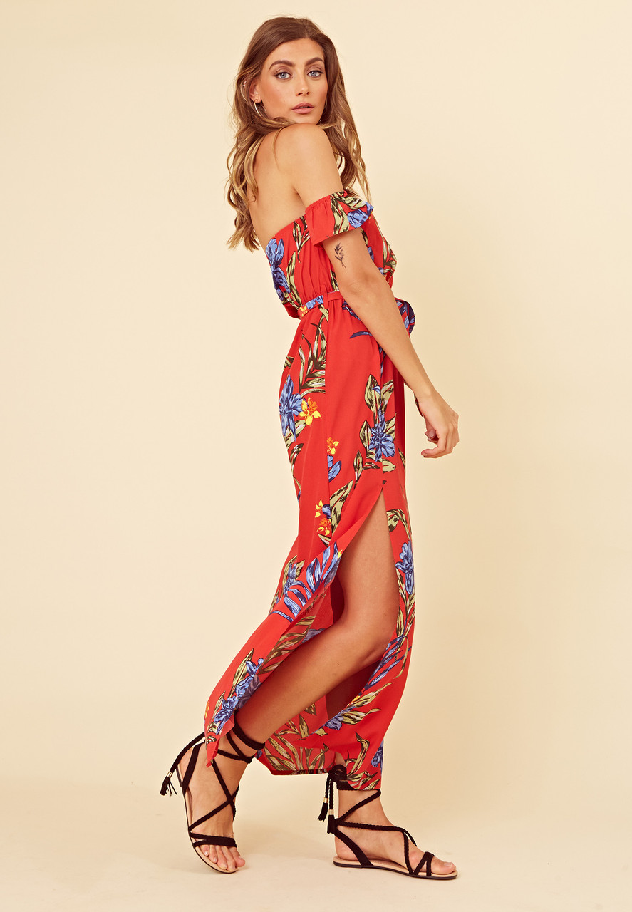Red Tropical Print Bardot Maxi Dress