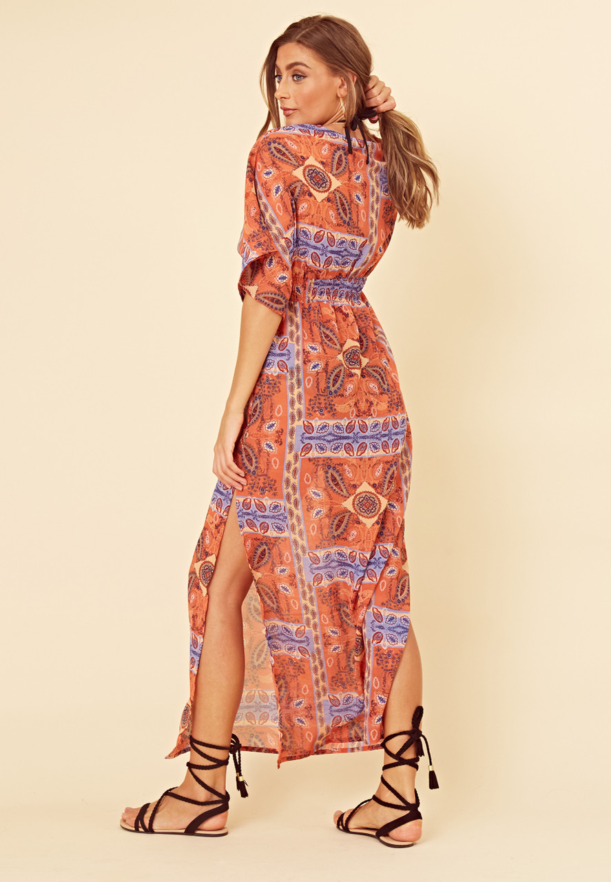 Paisley Scarf Print Plunge Front Shirred Waist Beach Maxi Dress