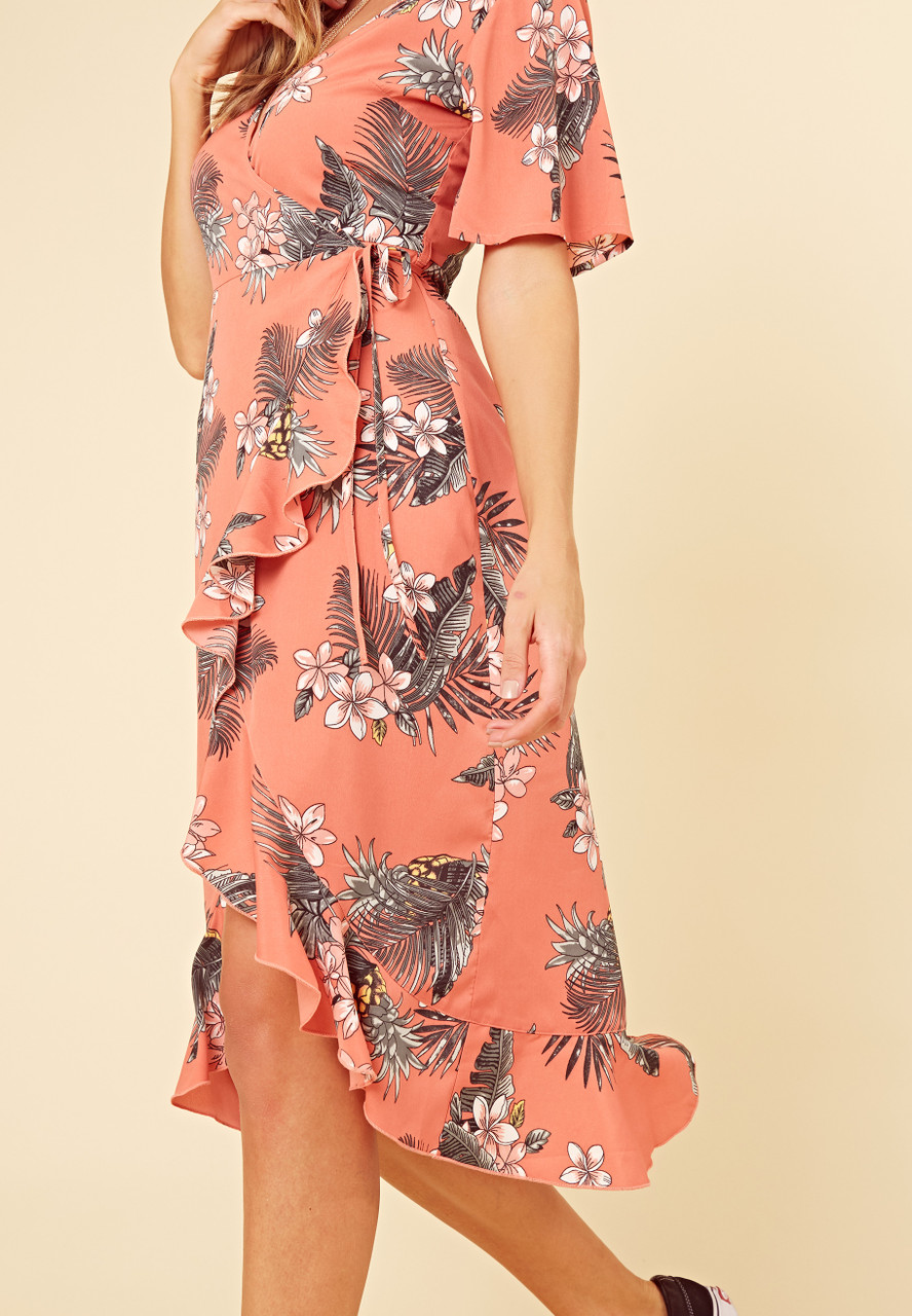 Coral Tropical Print Wrap Frill Hem Midi Dress