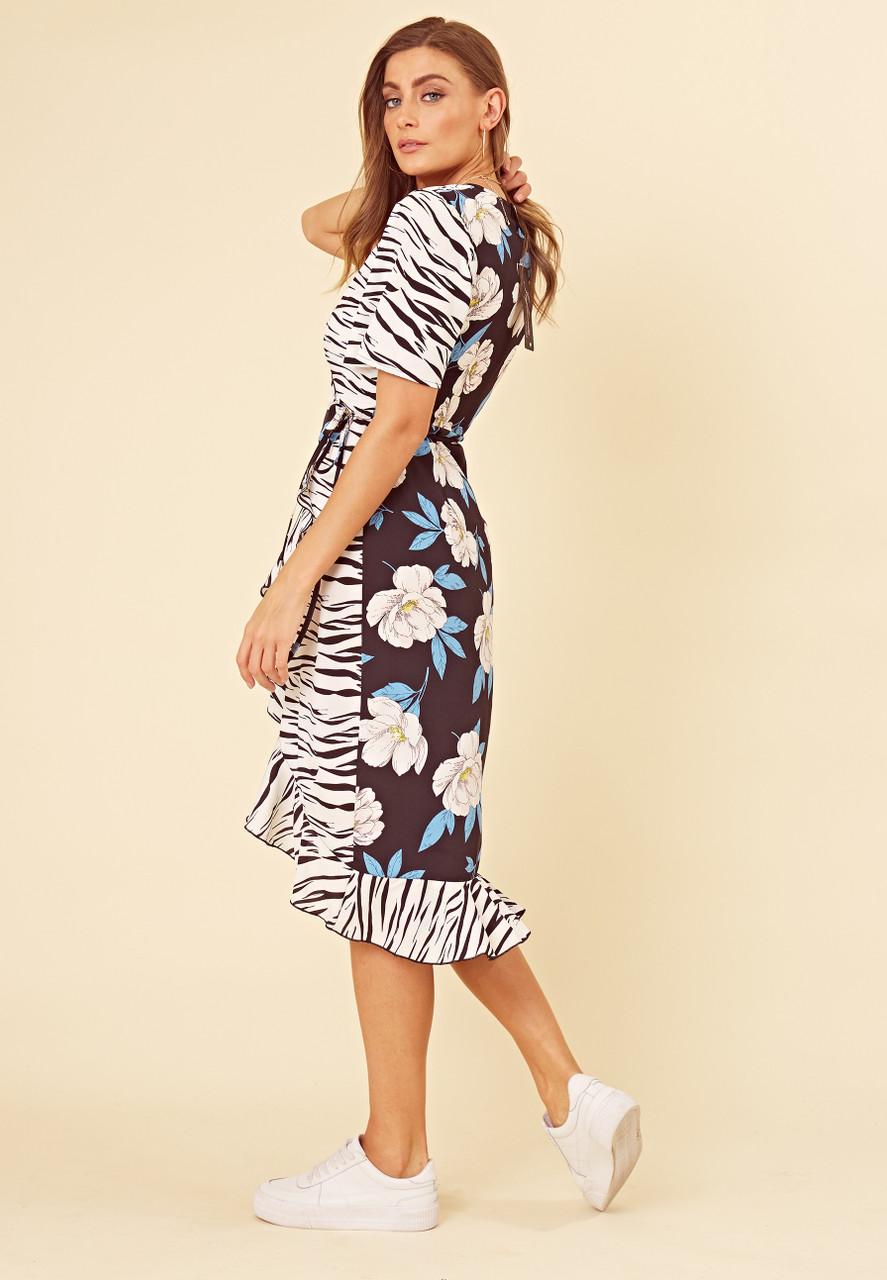 Navy Mix and Match Zebra and Floral Print Wrap Frill Hem Midi Dress