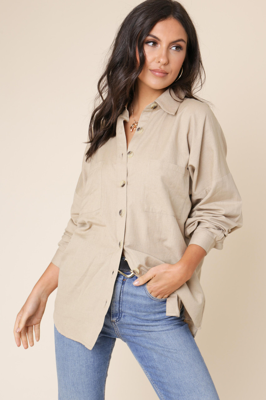 Stone Cotton Linen Look Button Down Oversized Shirt