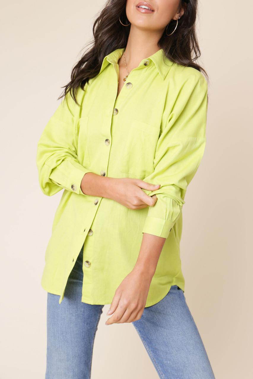 Lime Cotton Linen Look Button Down Oversized Shirt