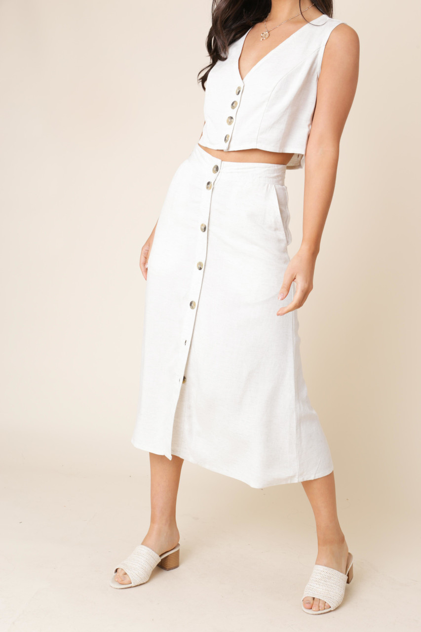Stone Cotton Linen Button Down Midi Skirt with Pockets