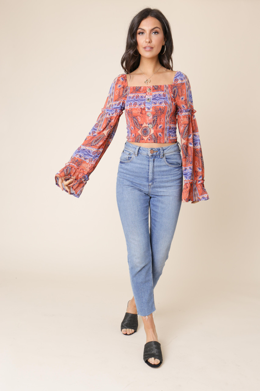 Mutli Long Sleeve Square Neck Paisley Print Top