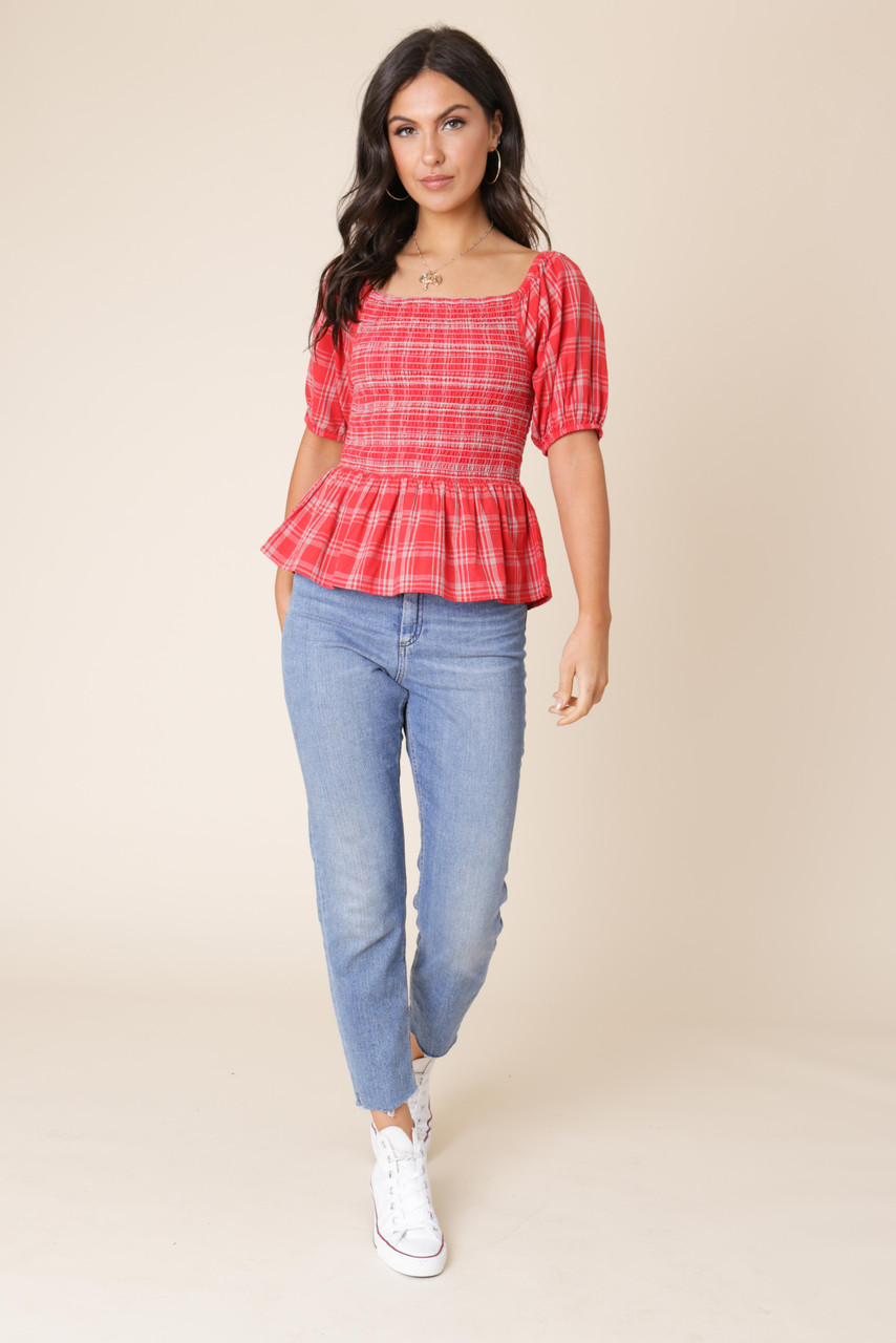 Red Cotton Check Puff Sleeve Gathered Hem Top