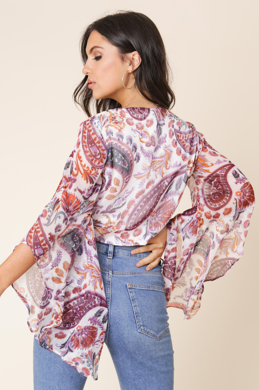 Multi Paisley Floral Print Flared Sleeve Tie Front Crop Top