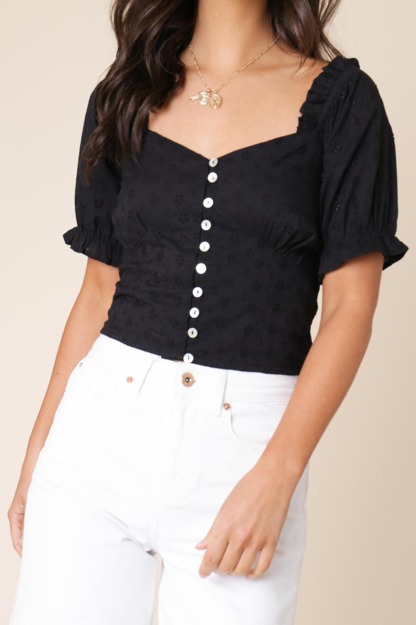 Black Cotton Puff Sleeve Button Front Schliffy Top