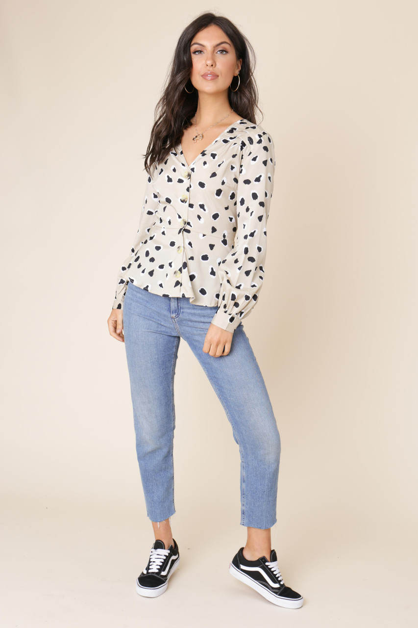 Stone Abstract Animal Print Button Front Tea Blouse
