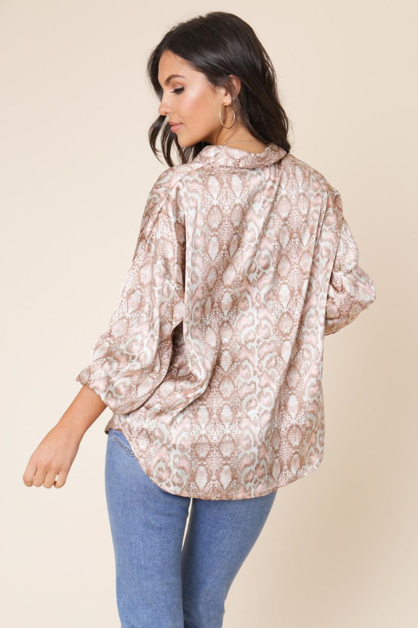 Snake Print Satin Long Sleeve Oversized Shirt