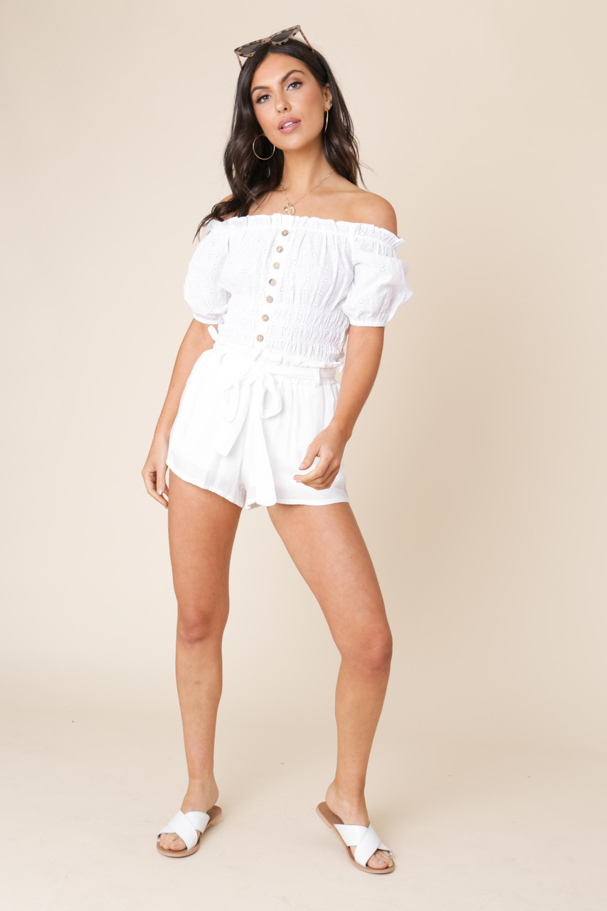 White Cotton Paperbag Shorts with Pockets and Belt