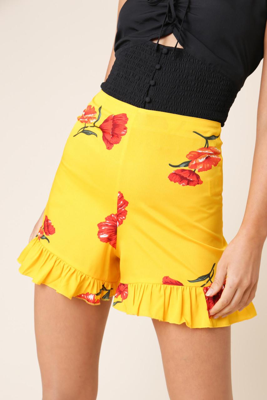 Yellow Floral High Waist Frill Hem Shorts