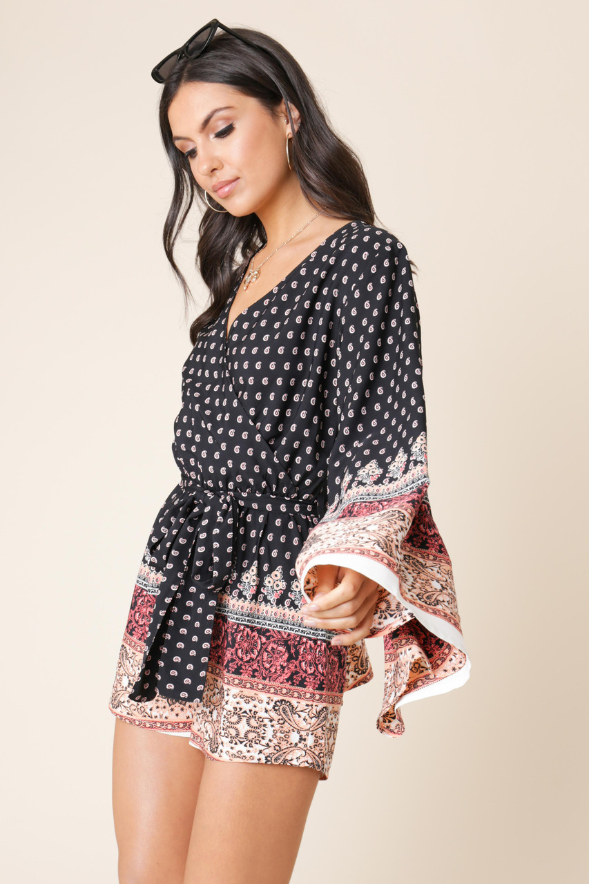 Black Paisley Border Print Kimono Sleeve Tie Belt Playsuit
