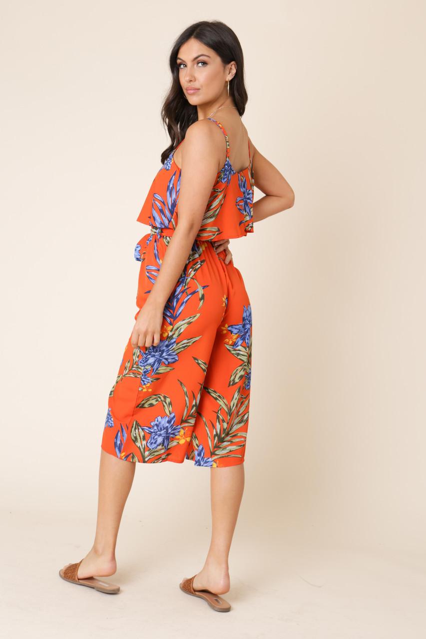 Orange Tropical Print Double Layer Culotte Jumpsuit