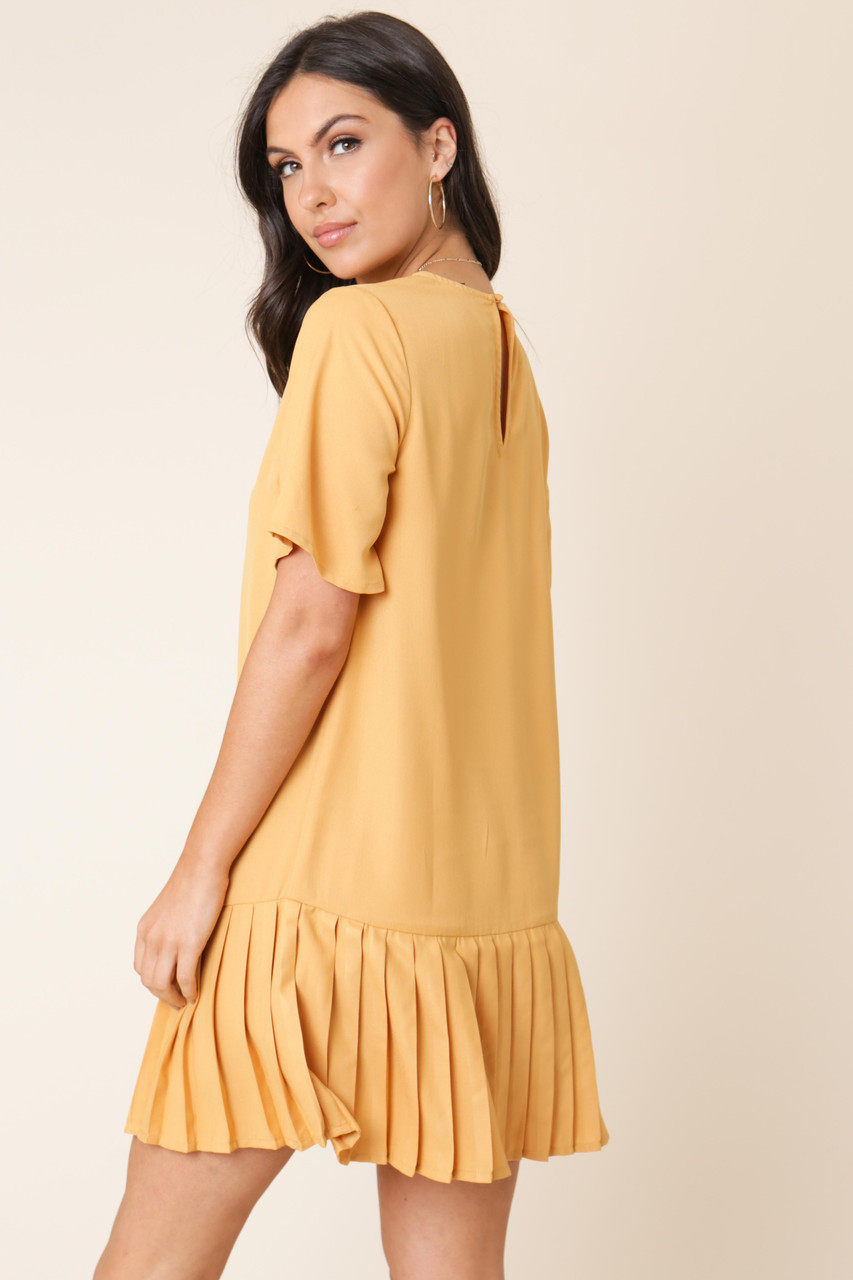 Mustard Pleated Hem Mini Shift Dress