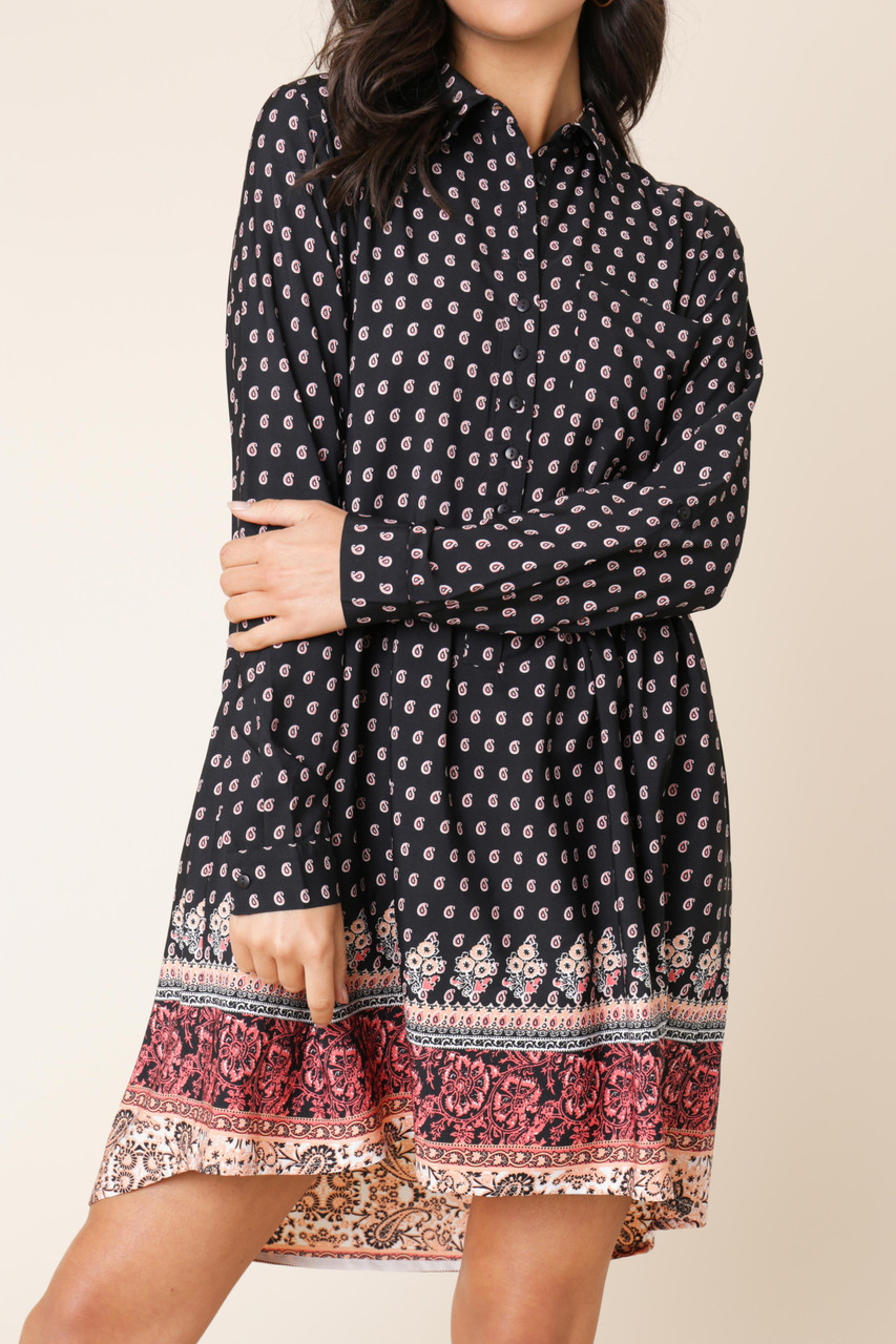 Black Paisley Floral Border Print Dipped Hem Shirt Dress