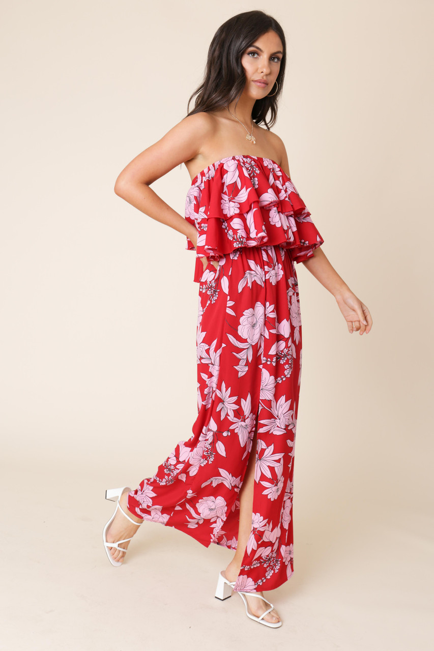 Red Floral Print Double Layer Bandeau Maxi Dress