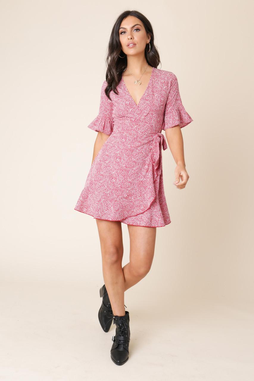Red Spot Print Wrap Frill Hem Mini Dress