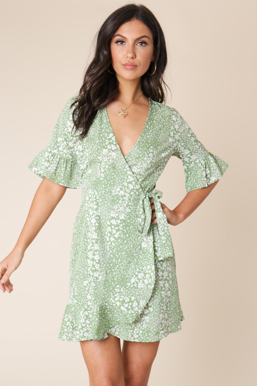 Green Floral Print Wrap Frill Hem Mini Dress