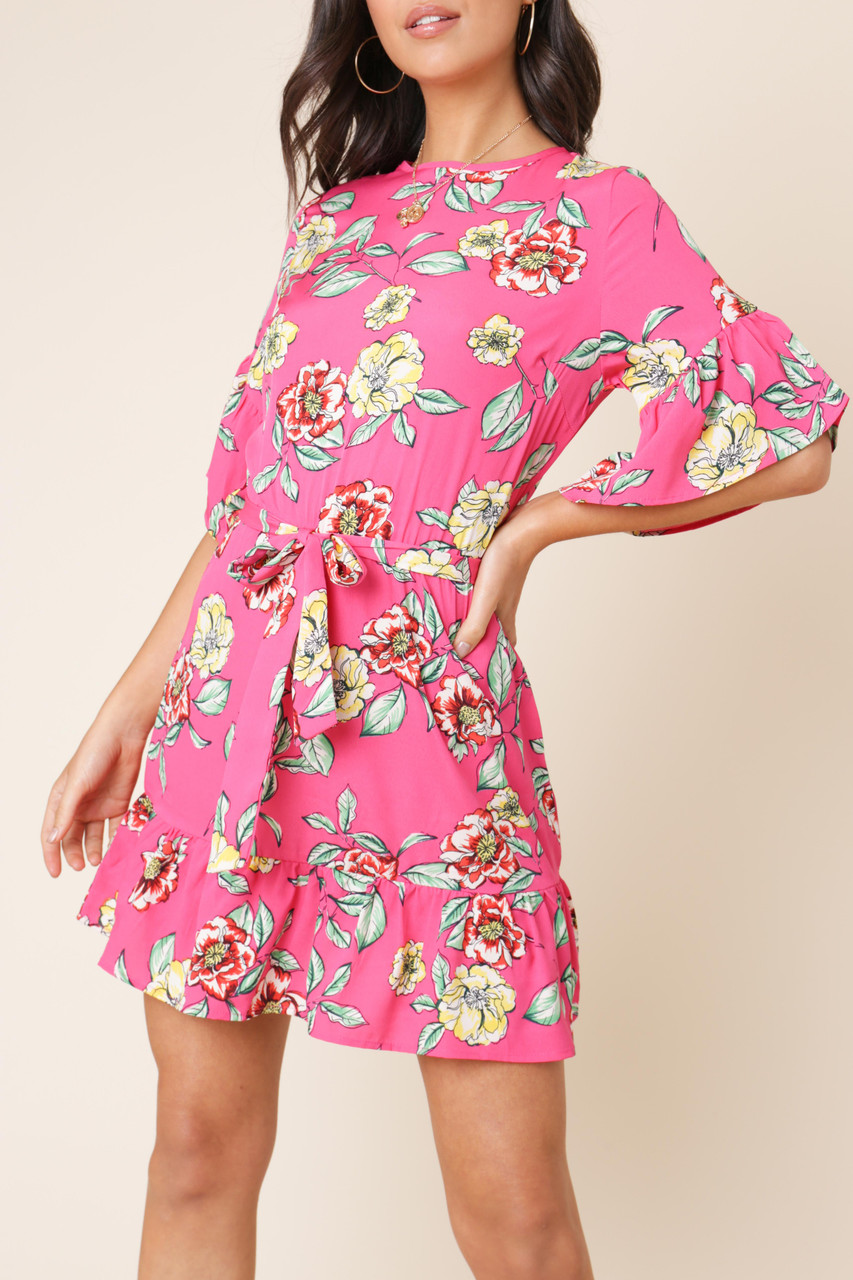 Pink Floral Ruffle Hem Waist Belted Mini Dress