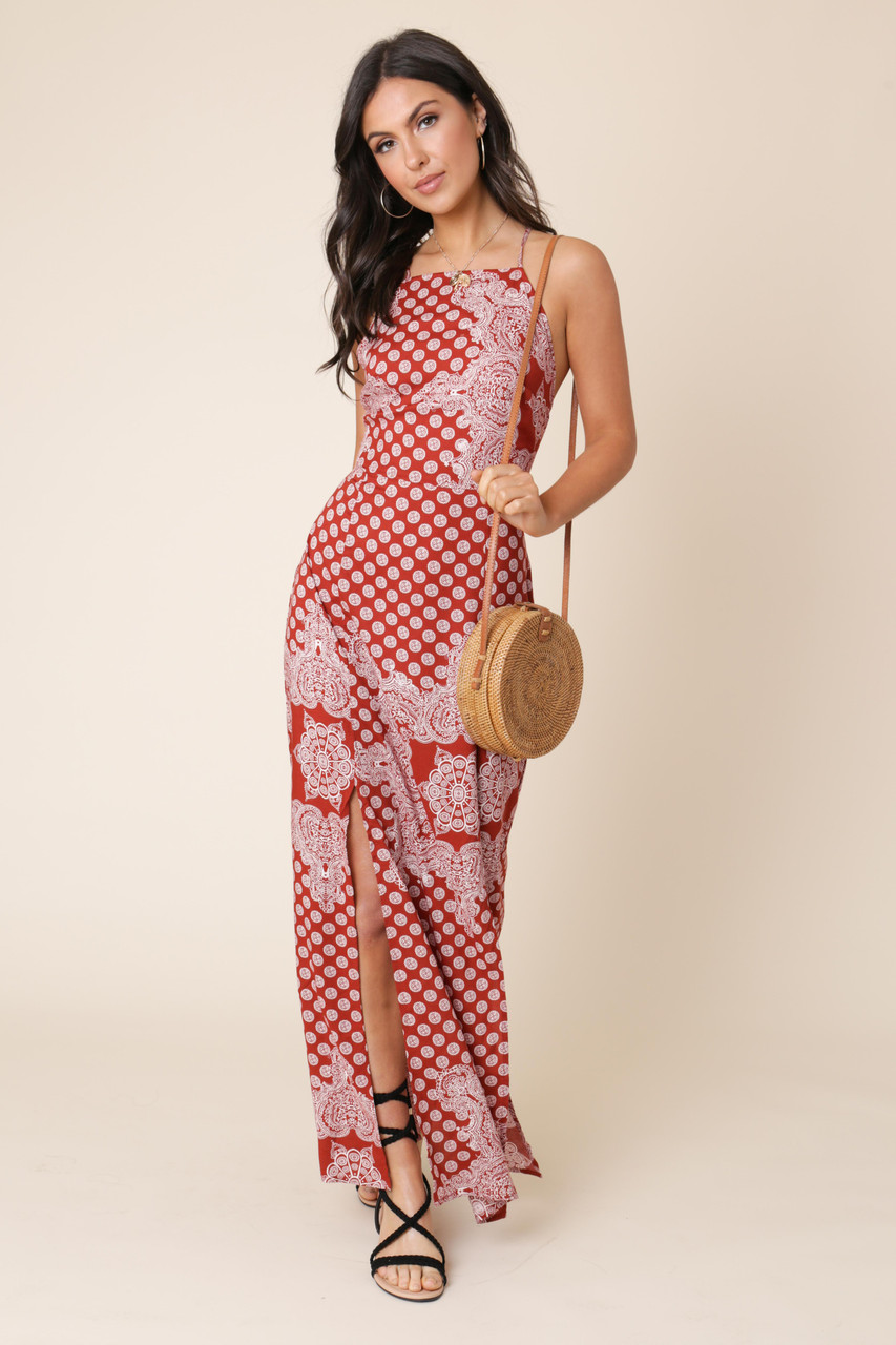Multi Scarf Paisley Print Cami Slip Maxi Dress with Split