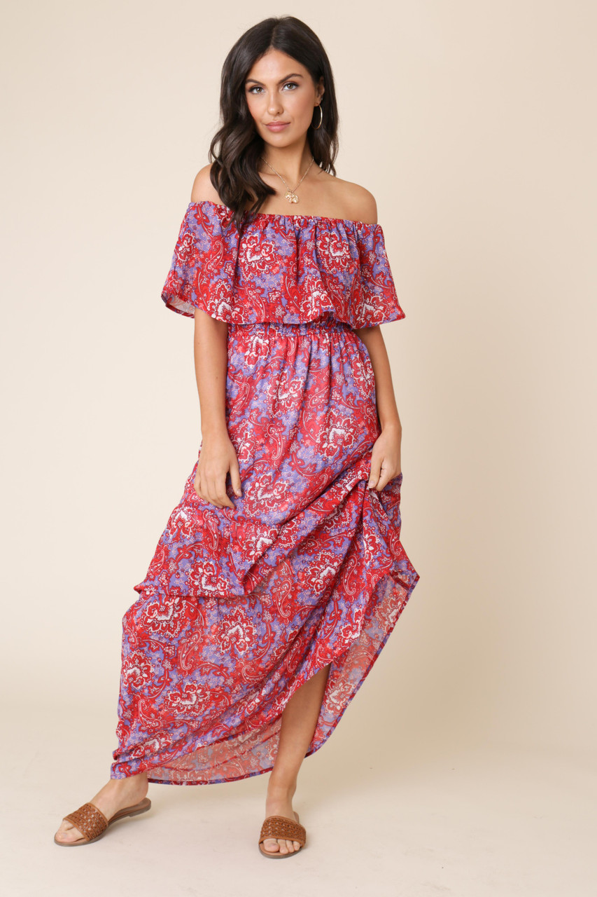 Multi Paisley Boho Print Bardot Maxi Dress