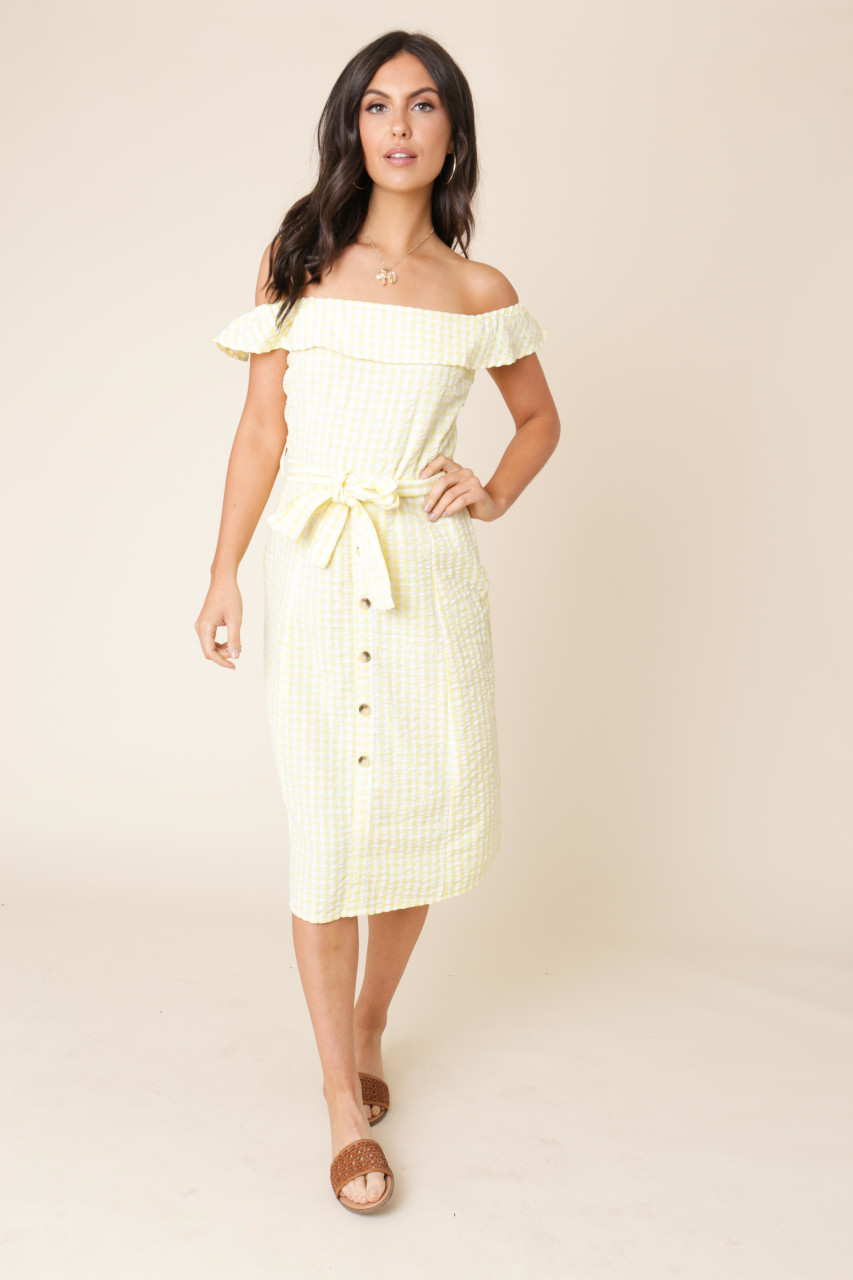 Yellow and White Gingham Bardot Midi Dress