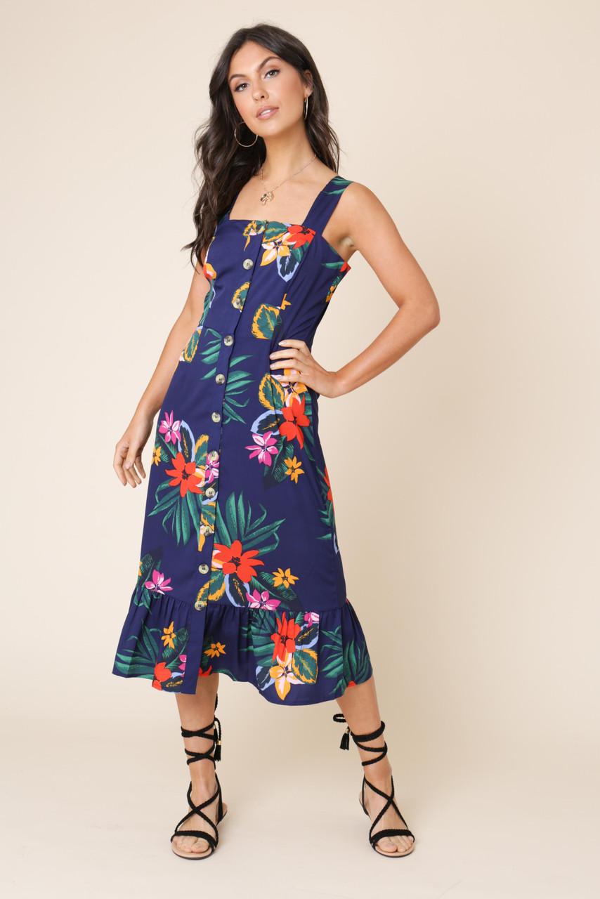 Navy Tropical Print Button Down Ruffle Hem Midi Dress
